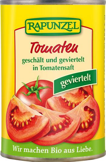Bio rajčata loupaná čtvrcená RAPUNZEL 400 g