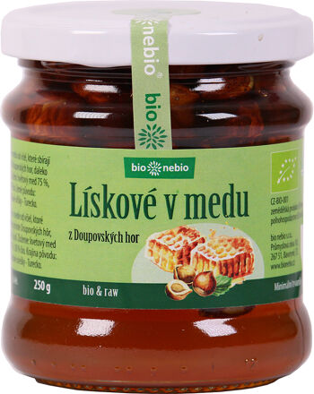 Bio lískové oříšky v medu z Doupovských hor ČESKÉ BIO 250 g