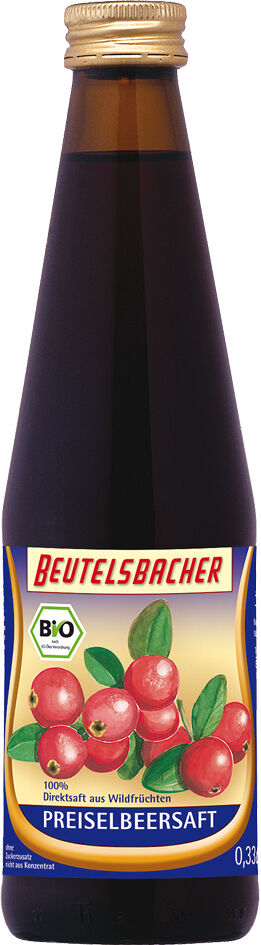 Bio brusinková šťáva 100% Beutelsbacher 0,33 l