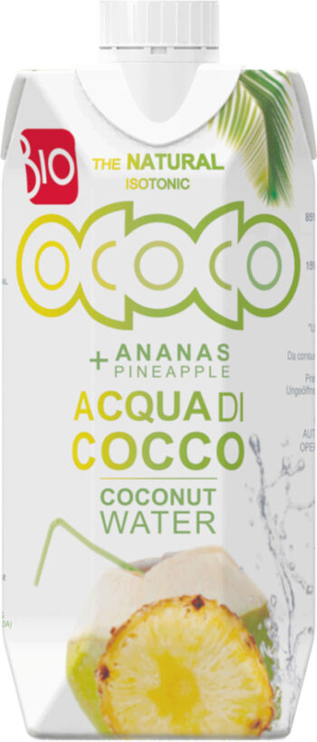 Bio kokosovo-ananasová voda 100% OCOCO 330 ml