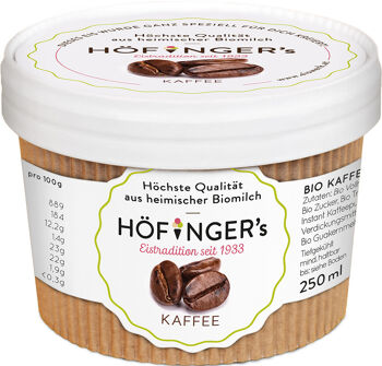 Bio smetanová zmrzlina kávová Höfingers 250 ml