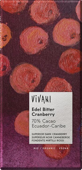 Bio hořká čokoláda s brusnicemi VIVANI 100 g