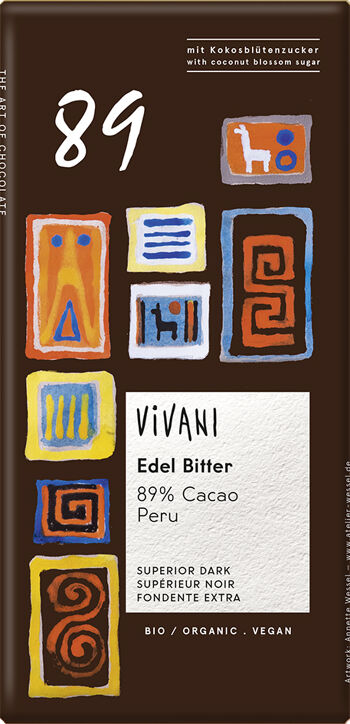 Bio hořká čokoláda 89% Peru s kokosovým cukrem VIVANI 80 g