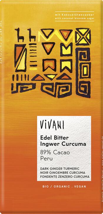 Bio hořká čokoláda Zázvor Kurkuma s kokosovým cukrem VIVANI 80 g