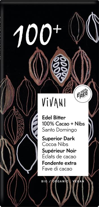 Bio hořká 100% s kousky kakaa VIVANI 80 g