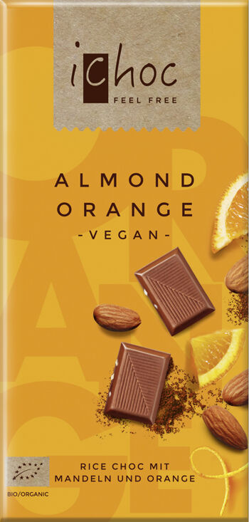 Bio vegan čokoláda mandle pomeranč iChoc 80 g