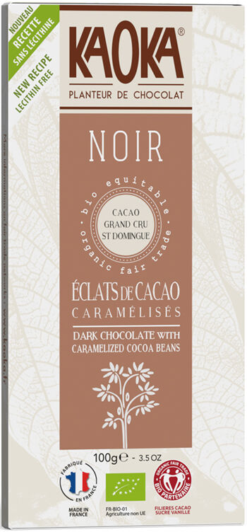 Bio hořká čokoláda s kousky kakaa KAOKA 100 g