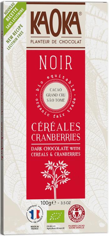 Bio hořká čokoláda brusnice-lupínky KAOKA 100 g