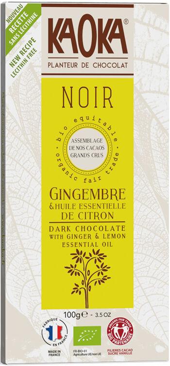 Bio hořká čokoláda citrón-zázvor KAOKA 100 g