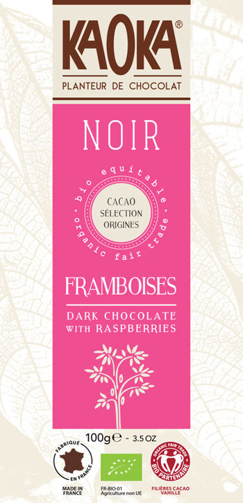 Bio hořká čokoláda s malinami KAOKA 100 g