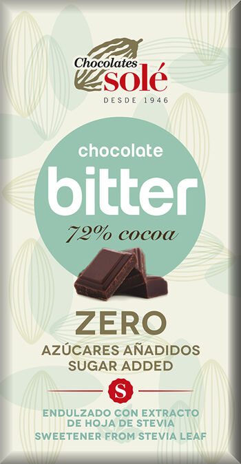 Hořká čokoláda 72% se stévií bez cukru SOLÉ 100 g