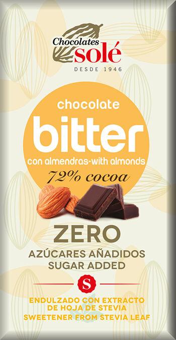 Hořká čokoláda s mandlemi a stévií bez cukru SOLÉ 100 g