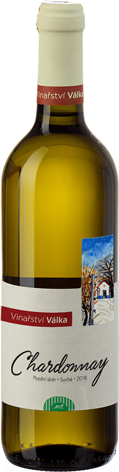 Bio Chardonnay pozdní sběr bílé 2018 Válka 0,75 l