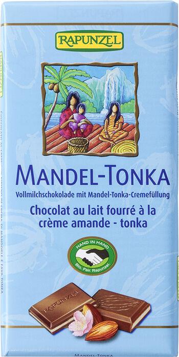 Bio mléčná čokoláda MANDLE TONKA RAPUNZEL 100 g